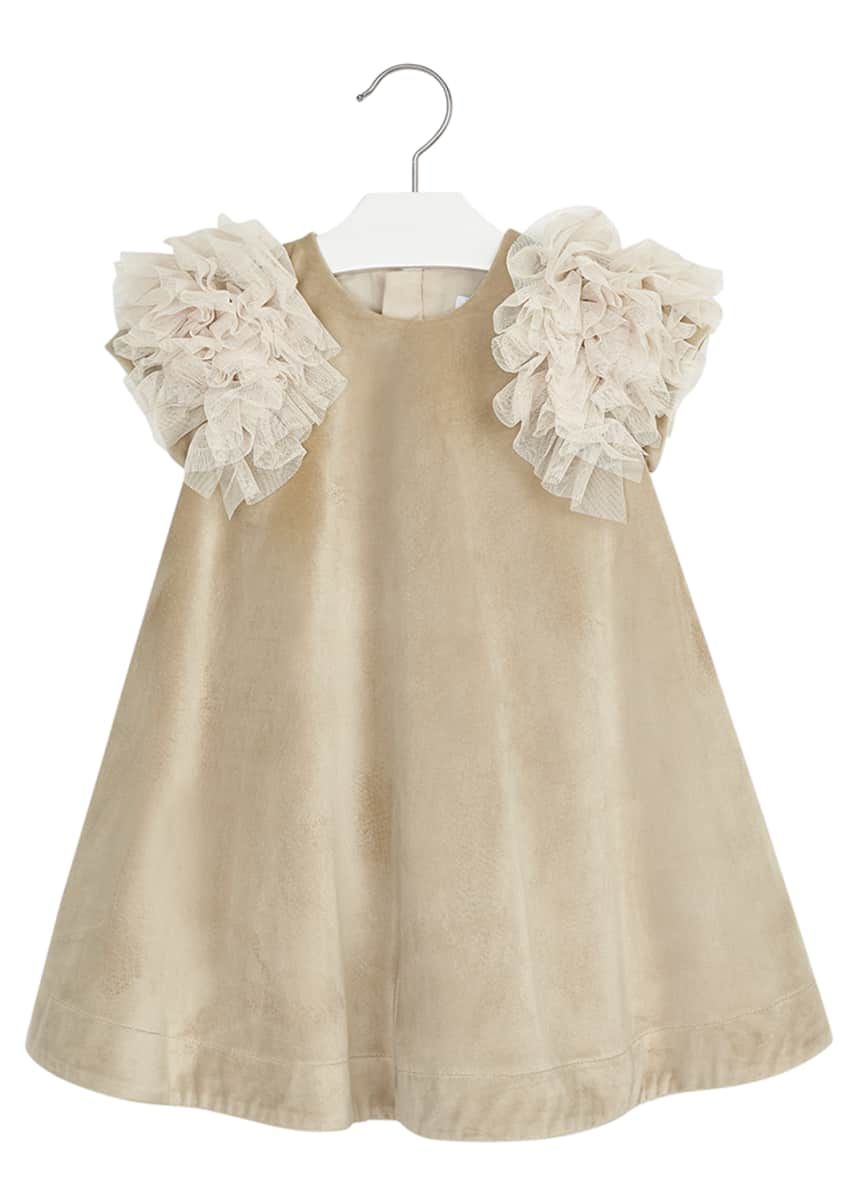 Mayoral Girl's Ruffle-Sleeve Velvet Dress, Size 4-8
