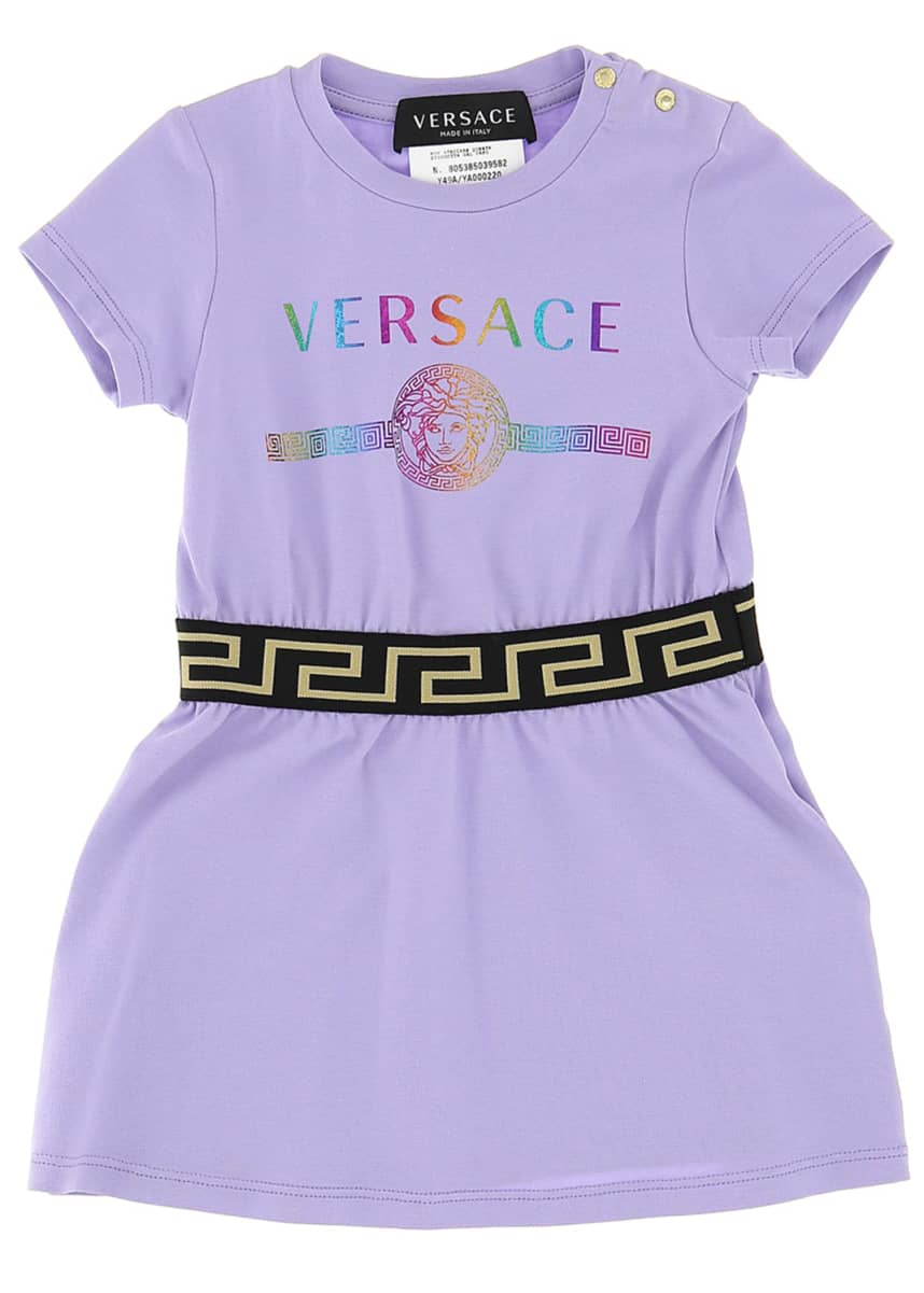Versace Girl's Metallic Rainbow Logo Short-Sleeve Knit Dress, Size 12-36 Months