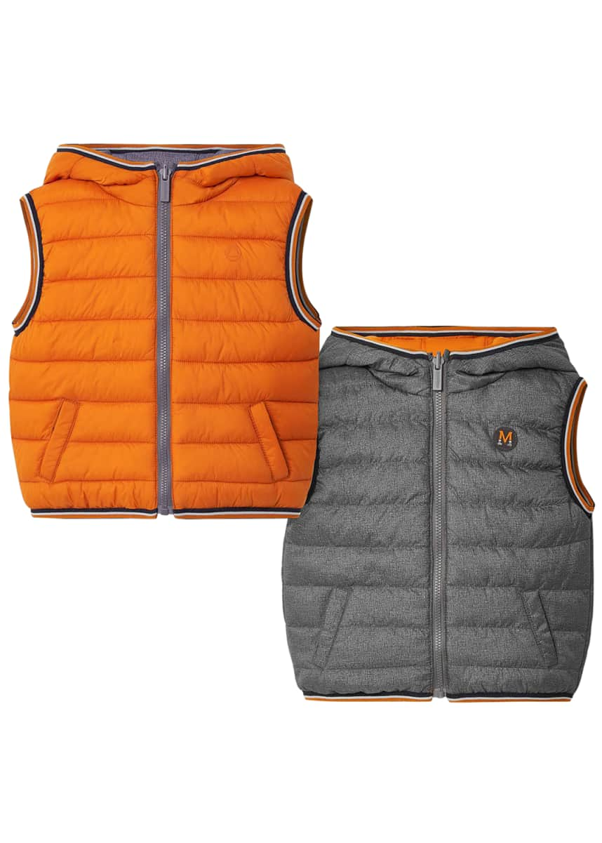 Mayoral Boy's Reversible Quilted Hooded Vest, Size 12-36 Months