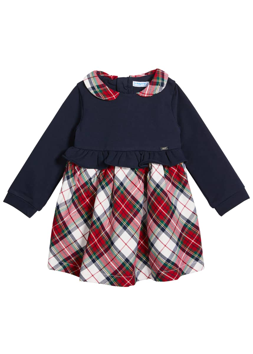 Mayoral Girl's Plaid Ruffle Trim A-Line Dress, Size 6-36M