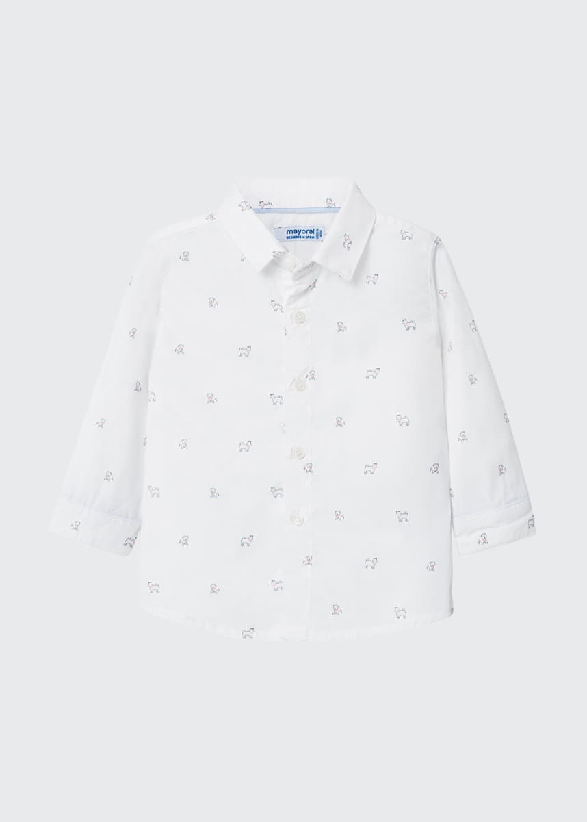 Mayoral Boy's Tiny Dog Print Button-Down Shirt, Size 6-36 Months