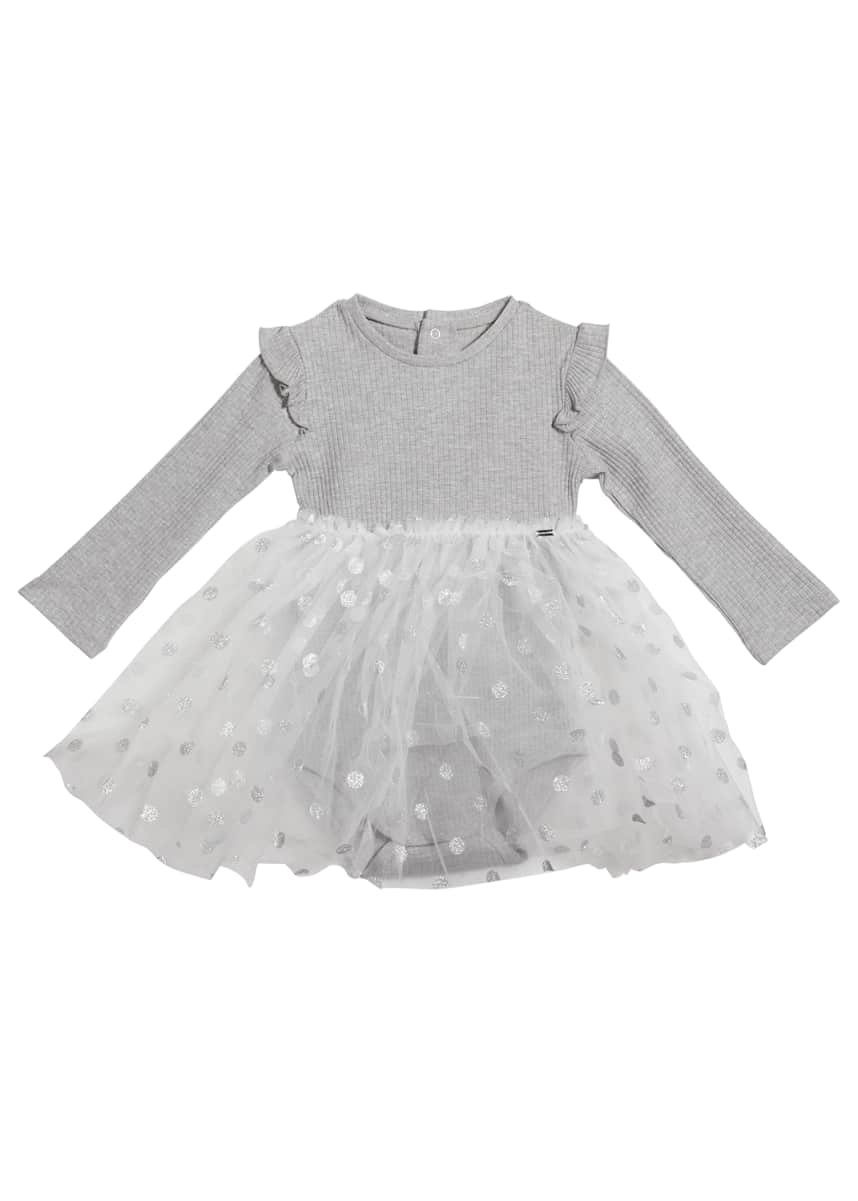 Mayoral Girl's Ruffle Polka Dot Long Sleeves Tulle Dress, Size 6-36M