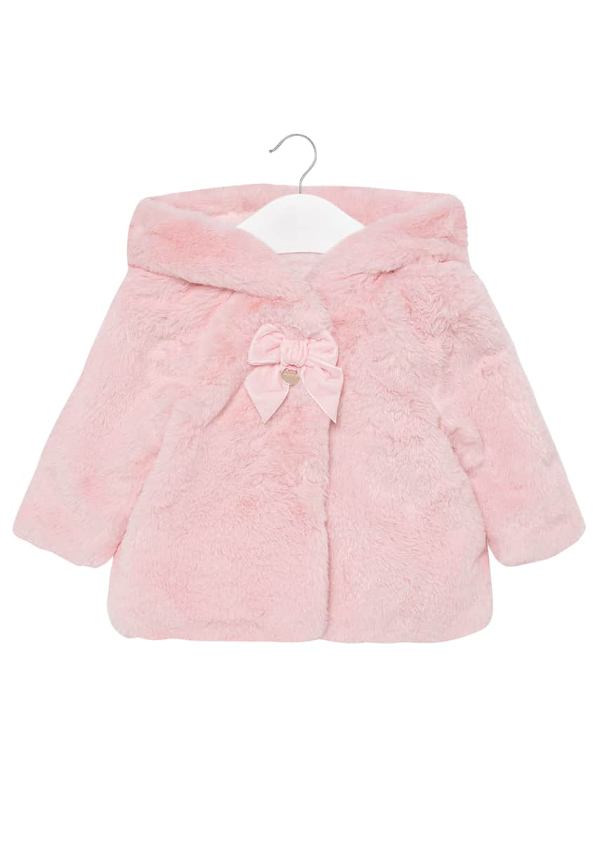 Mayoral Girl's Faux-Fur Bow Hooded Coat, Size 6-36 Months