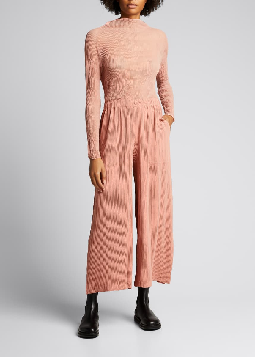 Issey Miyake Hatching Pleated Wide-Leg Pants