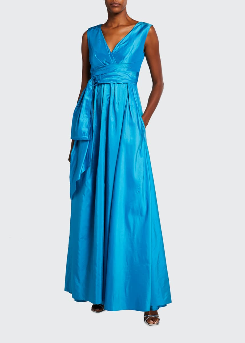 Talbot Runhof Boo Draped Fit-&-Flare Silk Gown