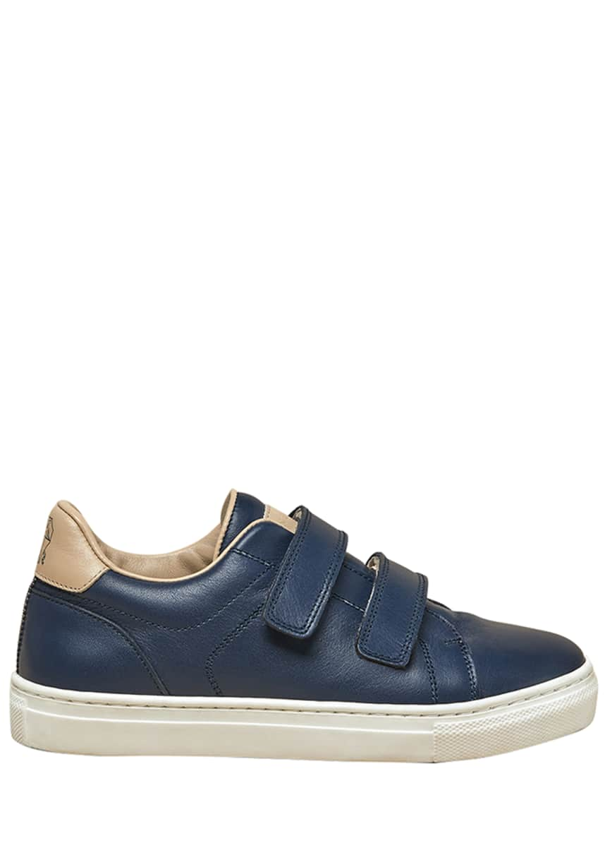 Brunello Cucinelli Boy's Grip Strap Low-Top Sneakers, Toddler/Kids