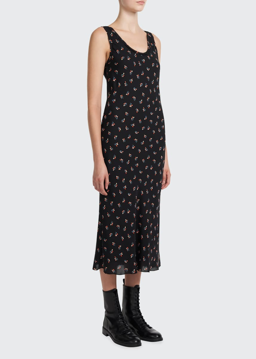 Theory Floral Print Scoop-Neck Silk Tank Dress