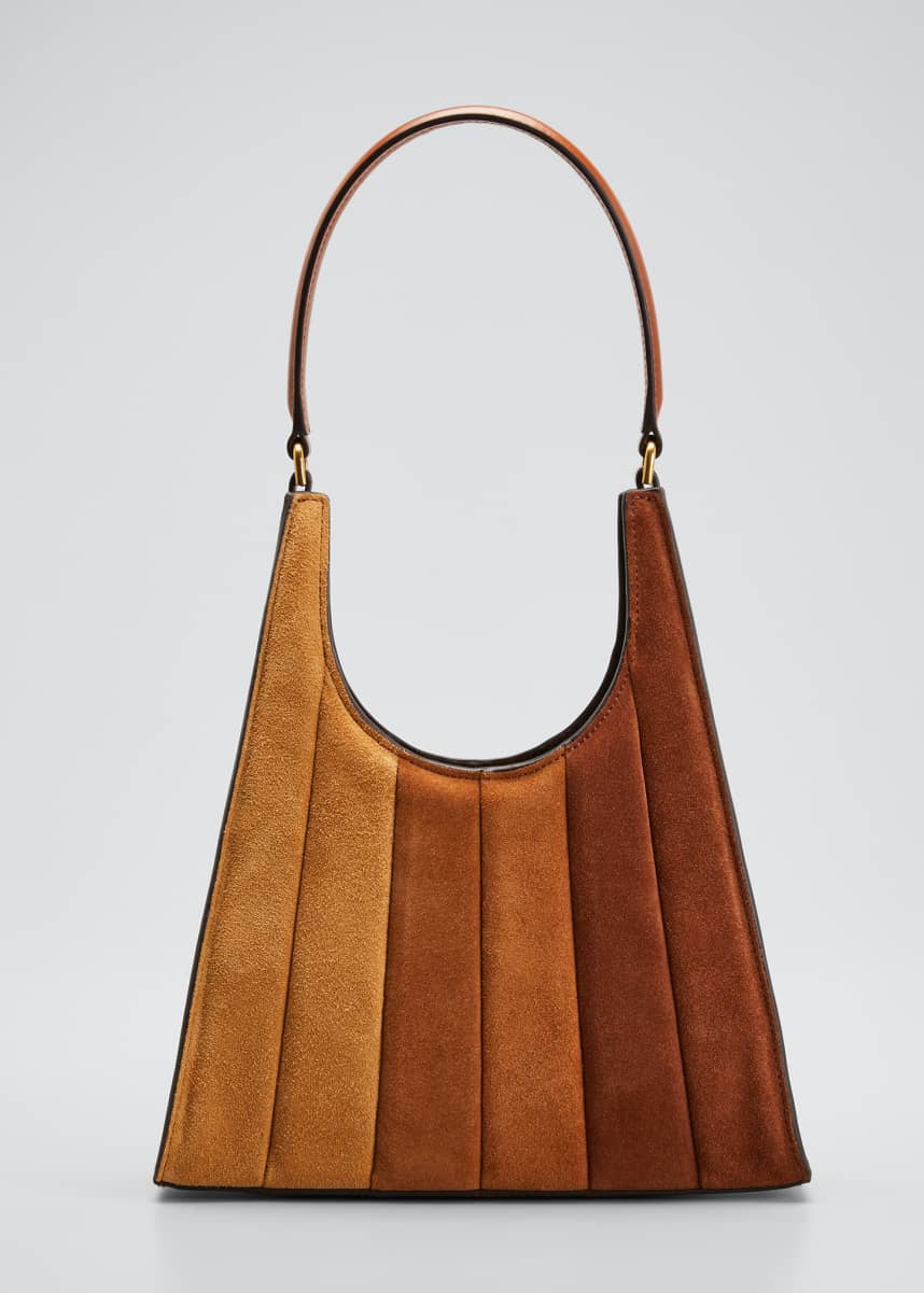 Staud Rey Striped Suede Shoulder Bag