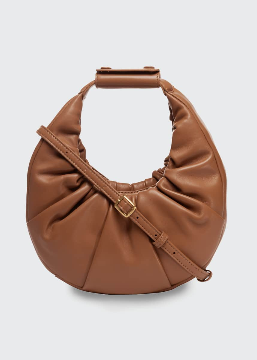 Staud Moon Pleated Leather Mini Shoulder Bag
