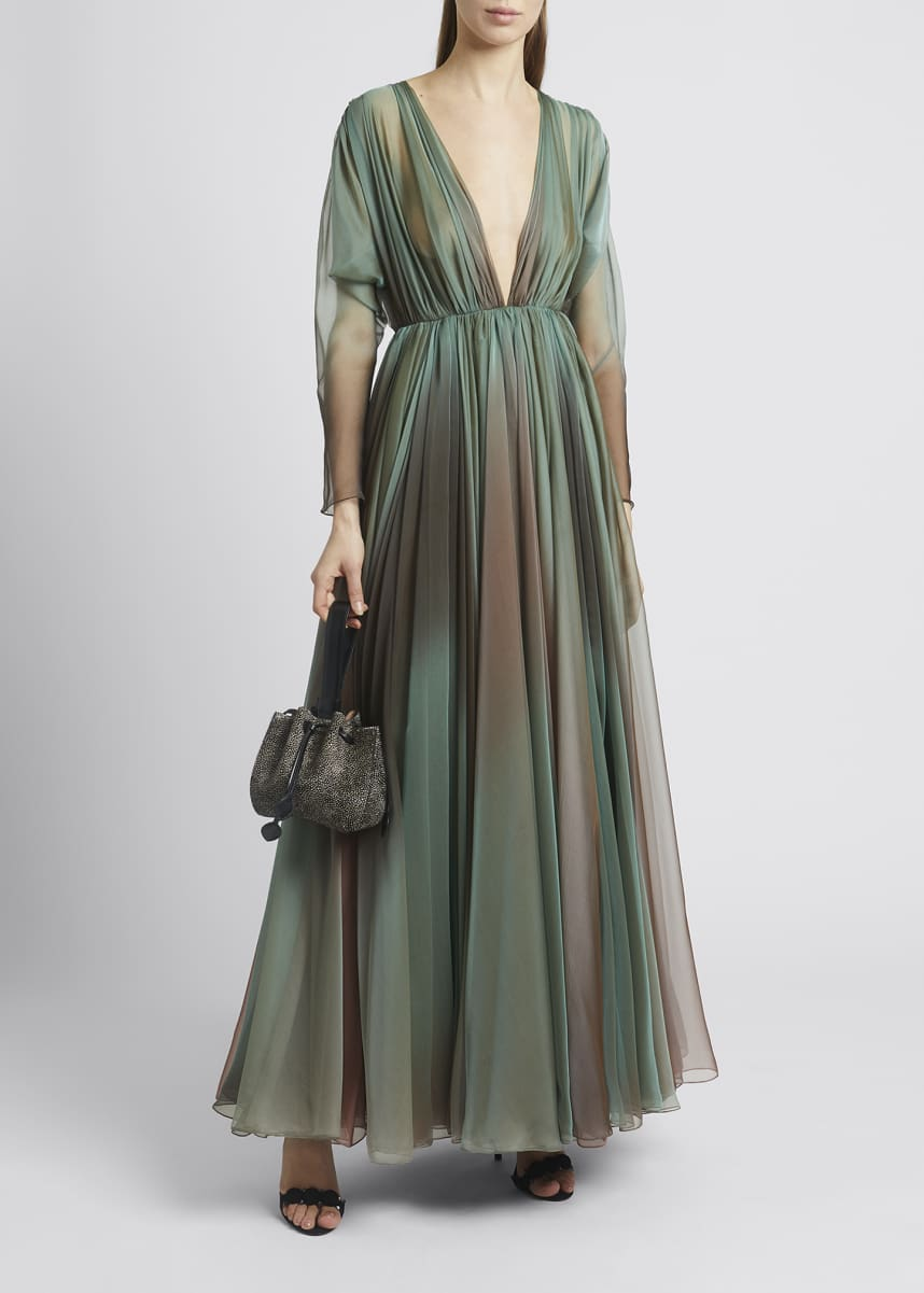 ALAIA V-Neck Long-Sleeve Ombre Silk Chiffon Gown