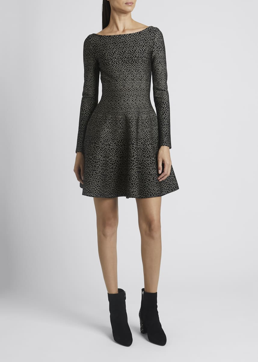 ALAIA Long-Sleeve Metallic Jacquard Mini Flare Dress