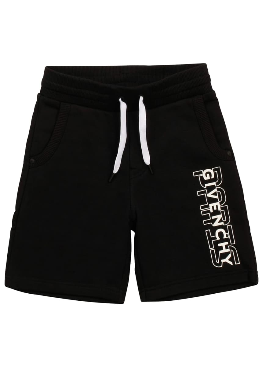 Givenchy Boy's Drawstring Printed Logo Shorts, Size 4-10