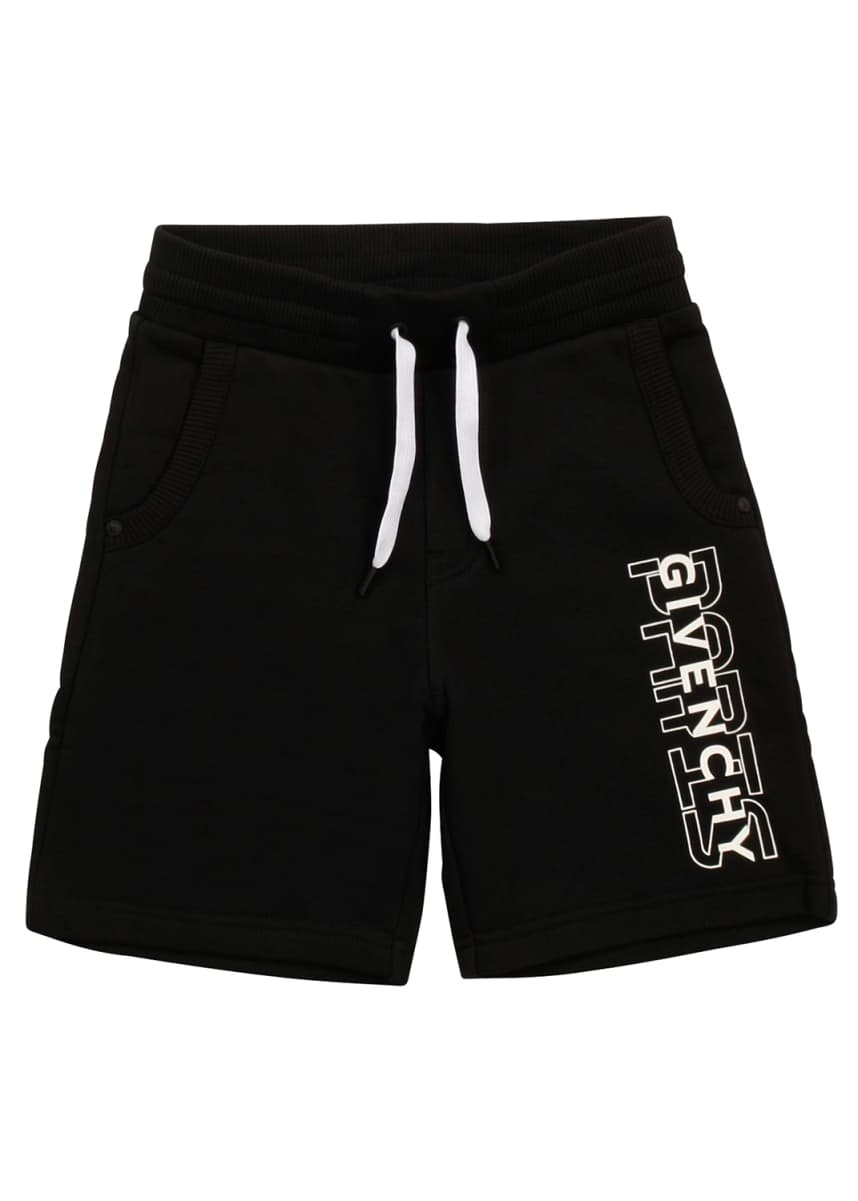 Givenchy Boy's Drawstring Printed Logo Shorts, Size 12-14