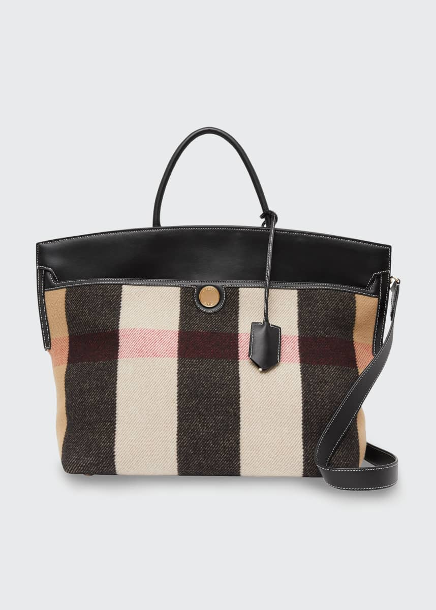Burberry Society Vintage Check Merino Wool & Cashmere Top-Handle Bag