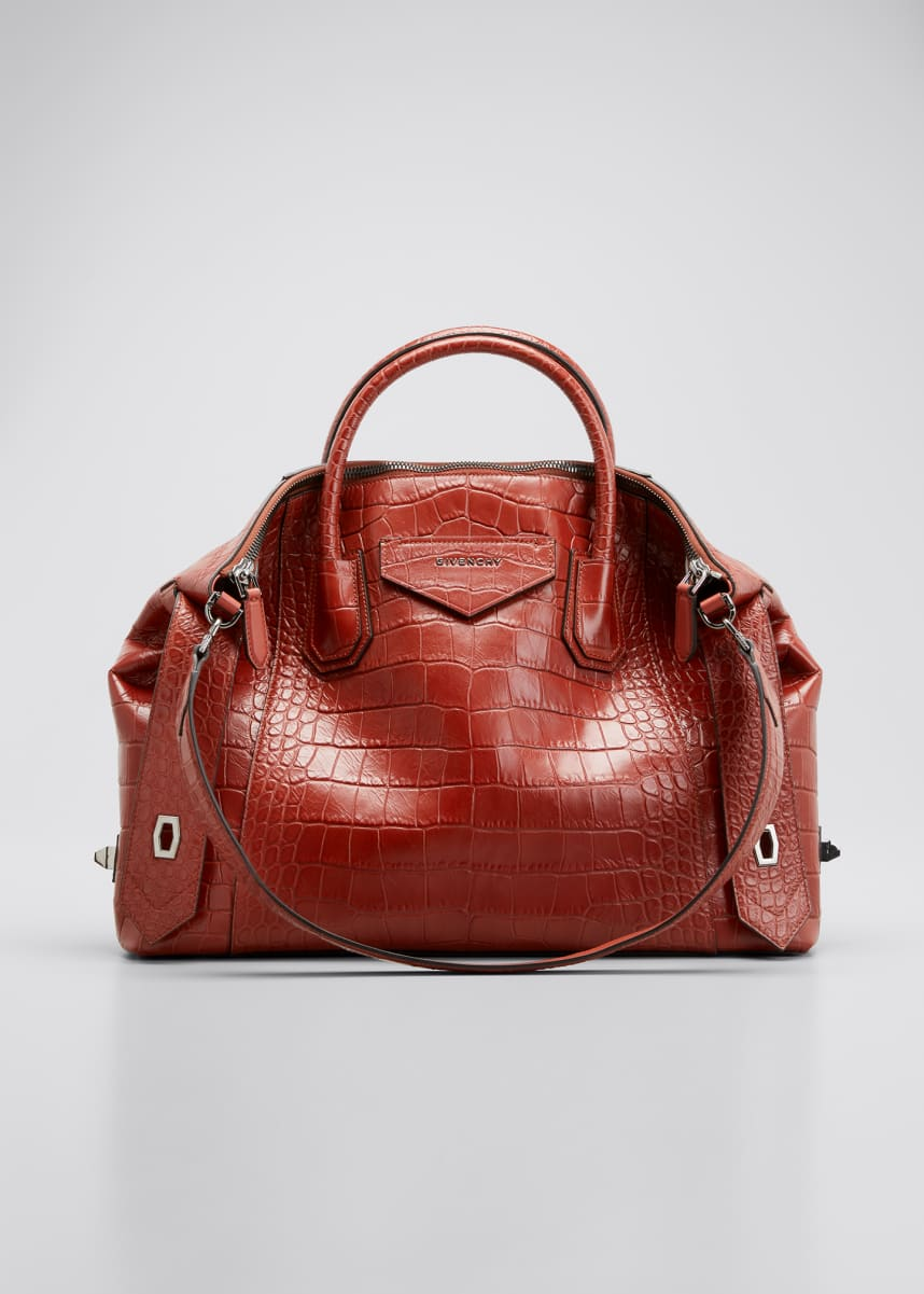 Givenchy Croc-Embossed Antigona Soft Medium Bag