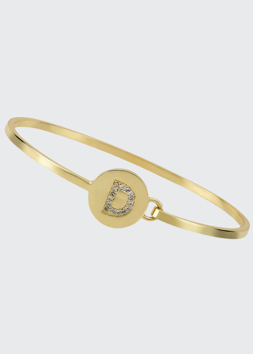 LMTS Girl's Gold-Plated Initial Bangle Bracelet