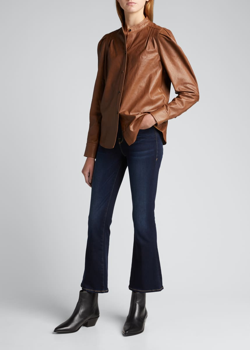 FRAME Charlie Leather Puff-Sleeve Top