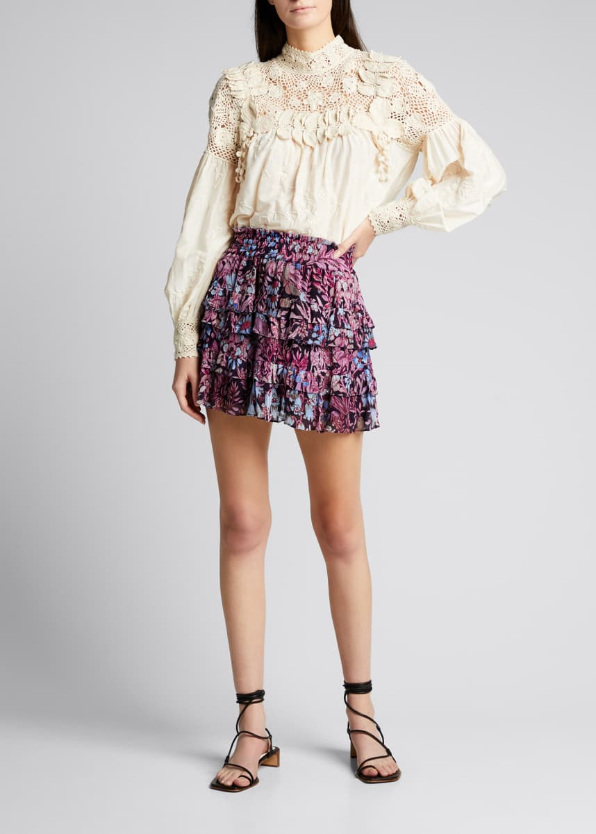 LoveShackFancy Benicia Layered Mini Skirt