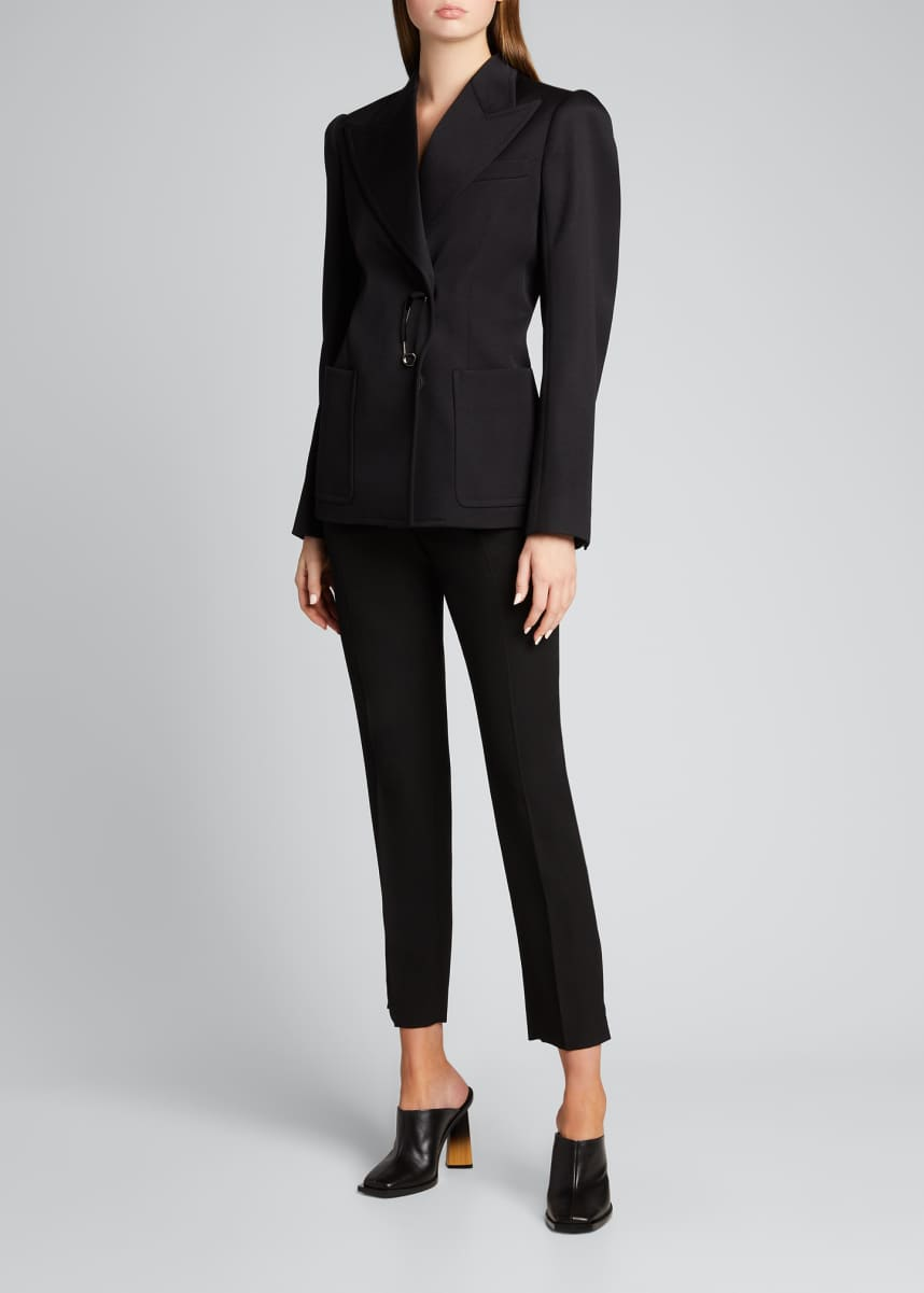 Givenchy Peak-Lapel Wool Blazer with Safety Pin Closure