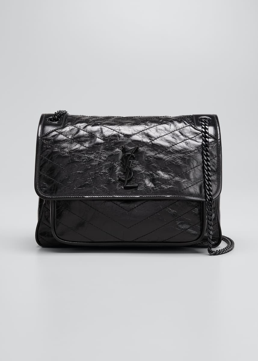 Saint Laurent Niki Medium Crinkled Calf Flap-Top Shoulder Bag