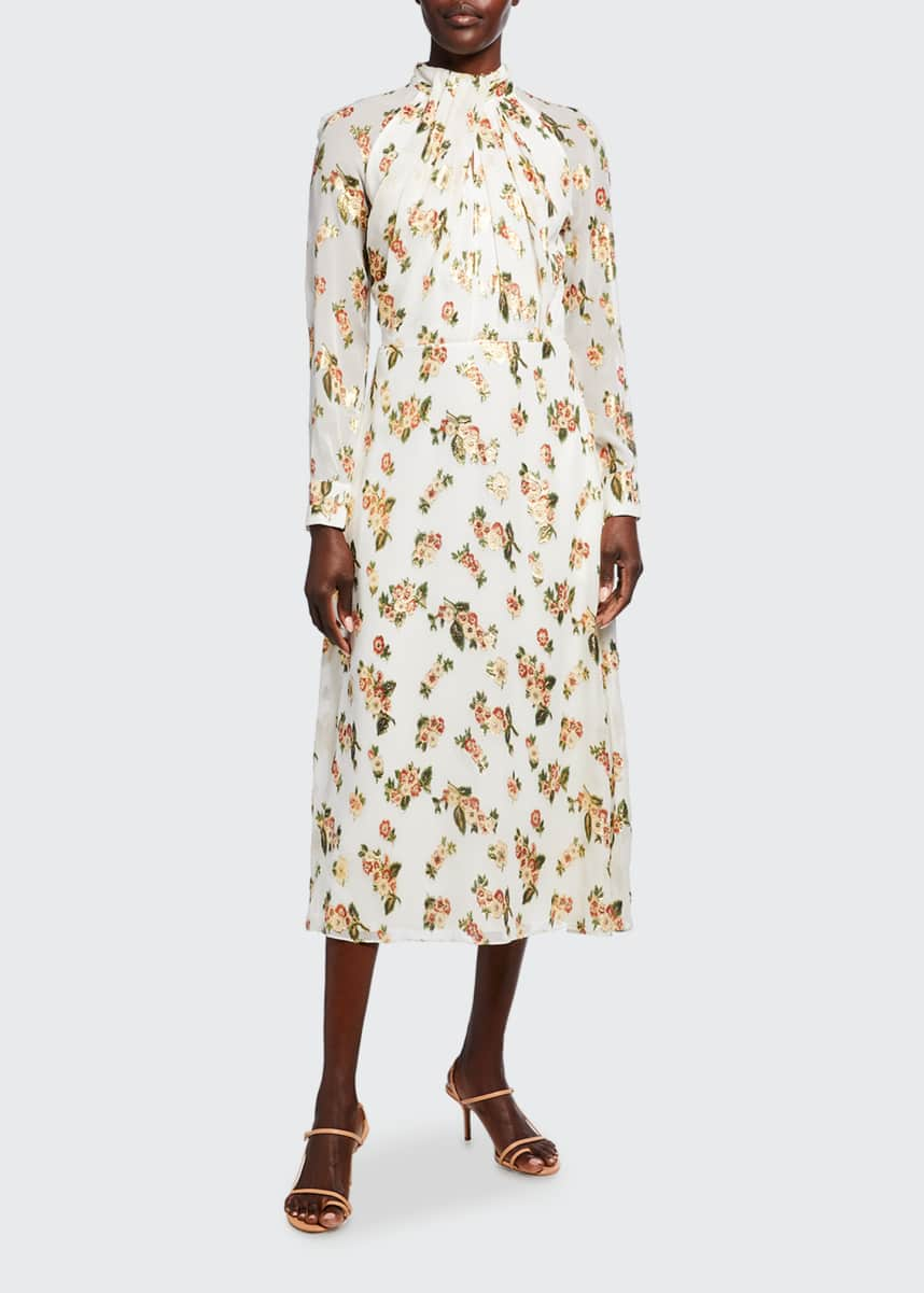 Adam Lippes Twist drape Floral Fil Coupe Midi Dress