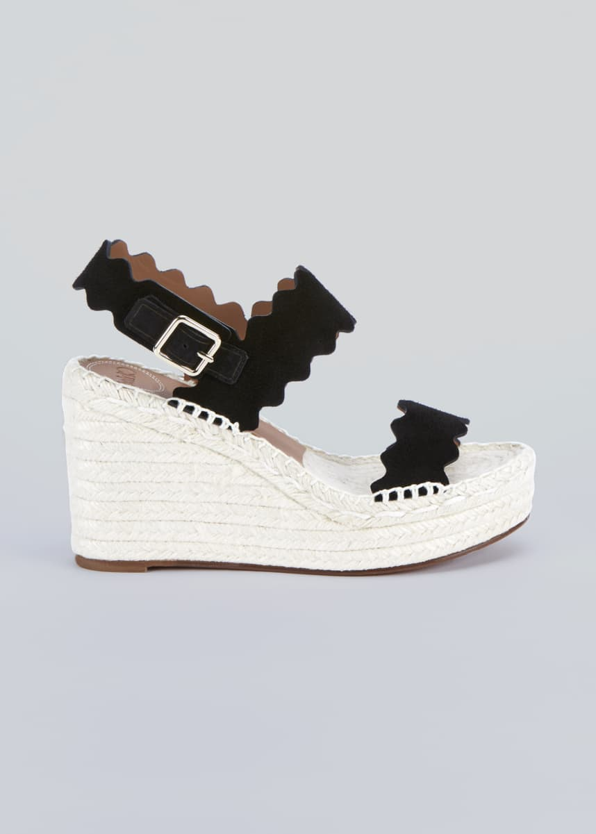 Chloe Lauren Scalloped Suede Wedge Espadrilles