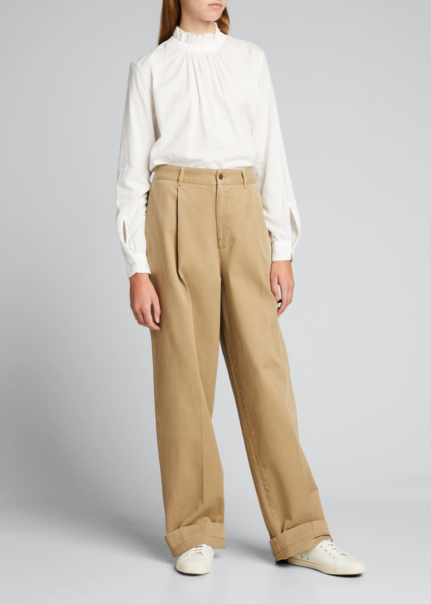 Officine Generale Lauren Loose Garment-Dyed Chino Pants