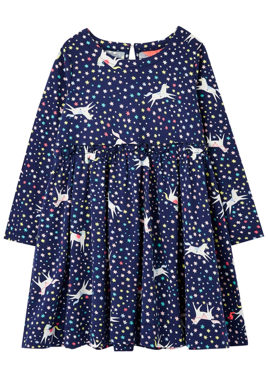 Joules Hampton Unicorns & Stars Paperbag Dress, Size 2-6