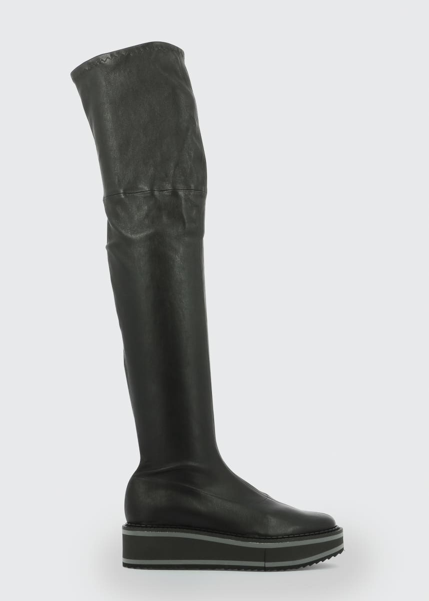 Clergerie Paris Bella Leather Platform Over-the-Knee Boots