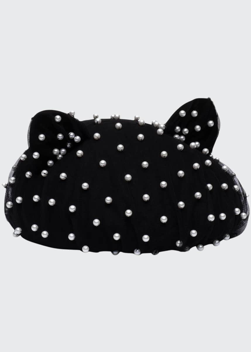 Eugenia Kim Caterina Cat-Ear Wool Beret with Pearly Tulle Overlay