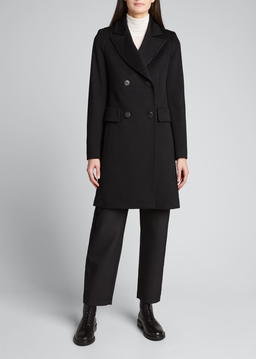 Fleurette Classic Double-Breasted Wool Coat