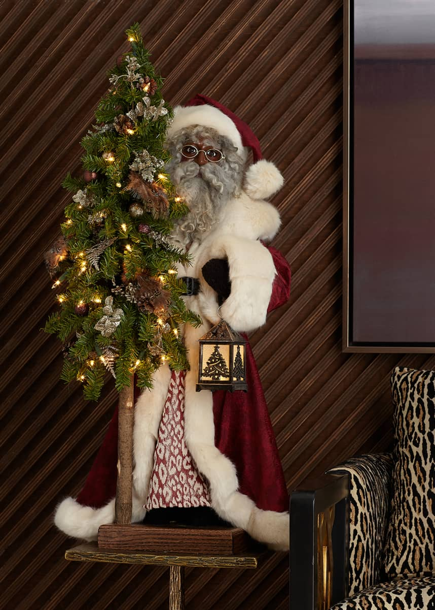 Ditz Designs By The Hen House Plum Wine Holiday Black Santa with Tree, 29""