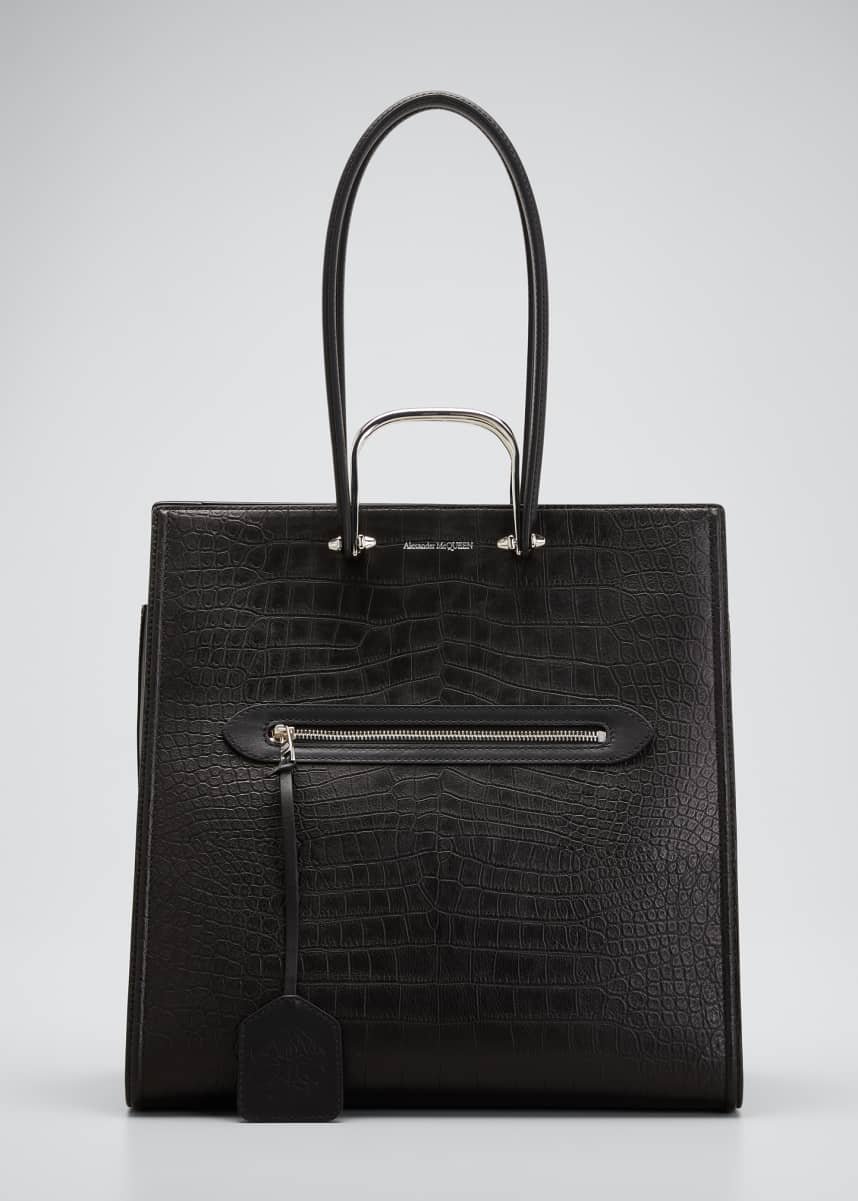 Alexander McQueen The Tall Story Bag in Croc-Embossed Leather