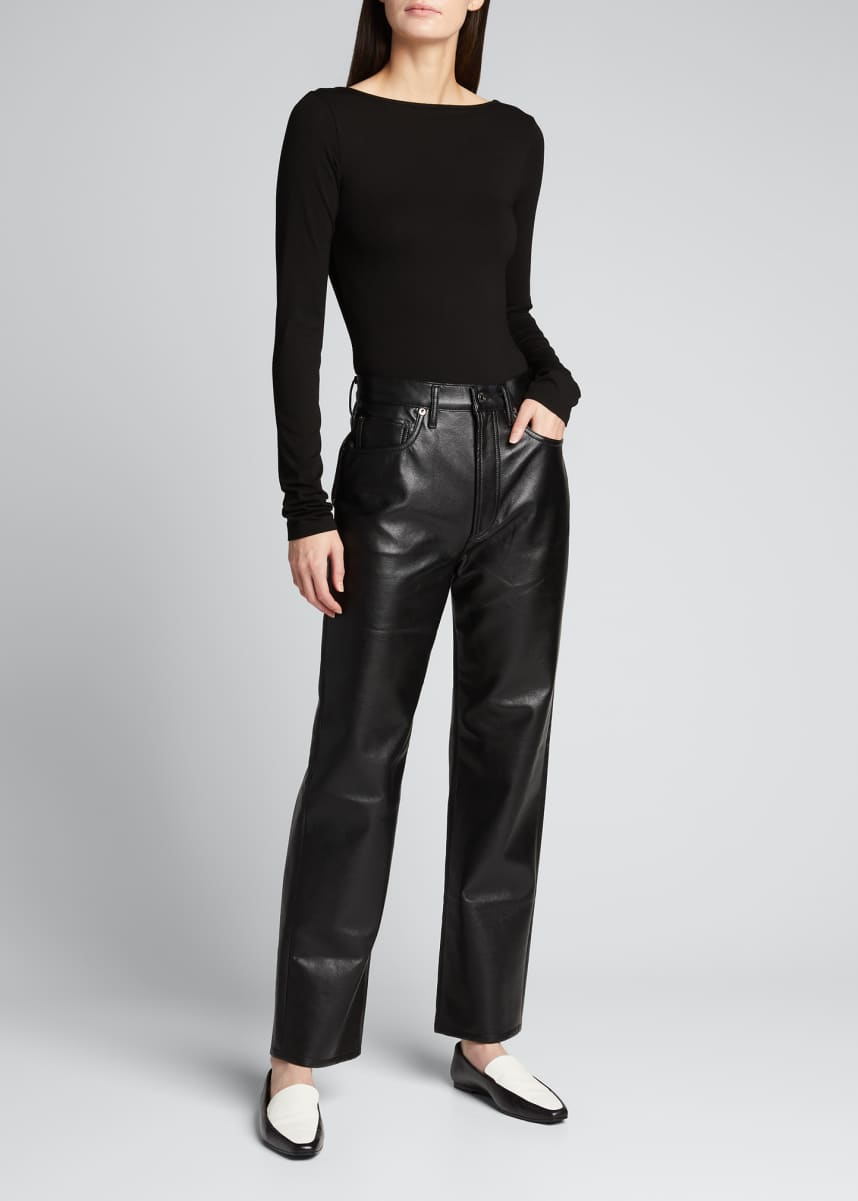 AGOLDE 90s Recycled Leather Pinched-Waist Pants