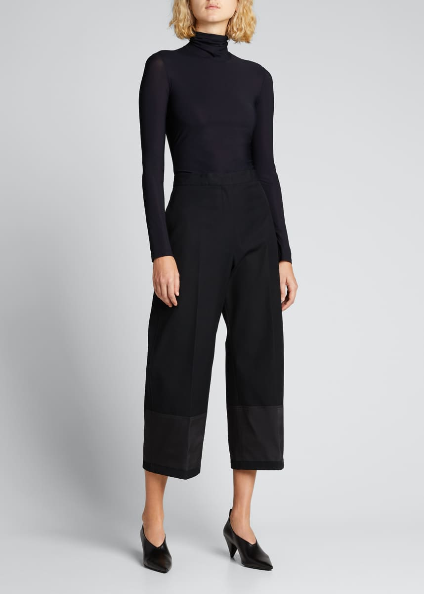 Jil Sander Solid Long-Sleeve Turtleneck Top