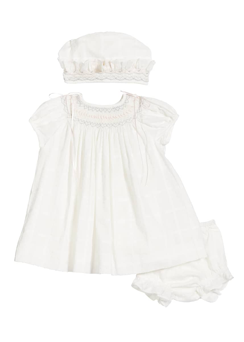 Luli & Me Embroidered Bishop Dress w/ Matching Bonnet & Bloomers, Size 3-12 Months
