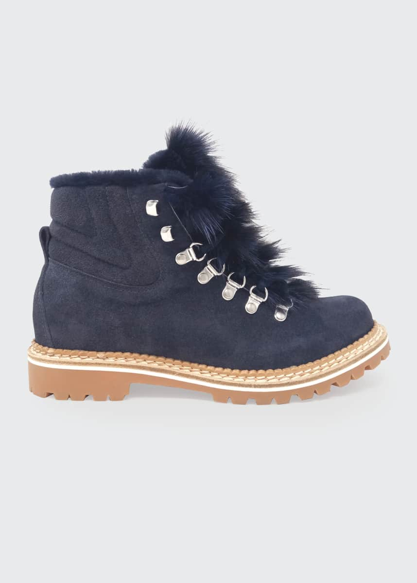 Montelliana 1965 Camelia Suede Fox Hiker Boots, Blue