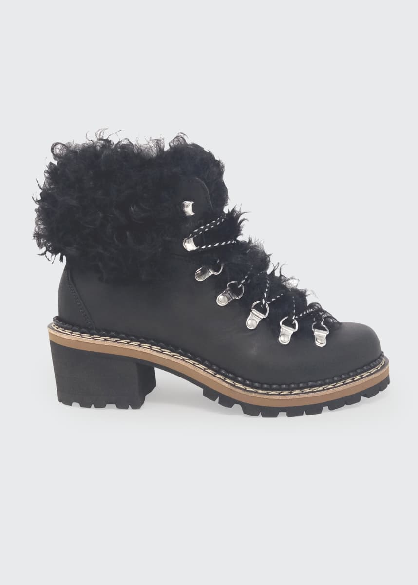 Montelliana 1965 Ninfea Leather Fur Hiker Boots