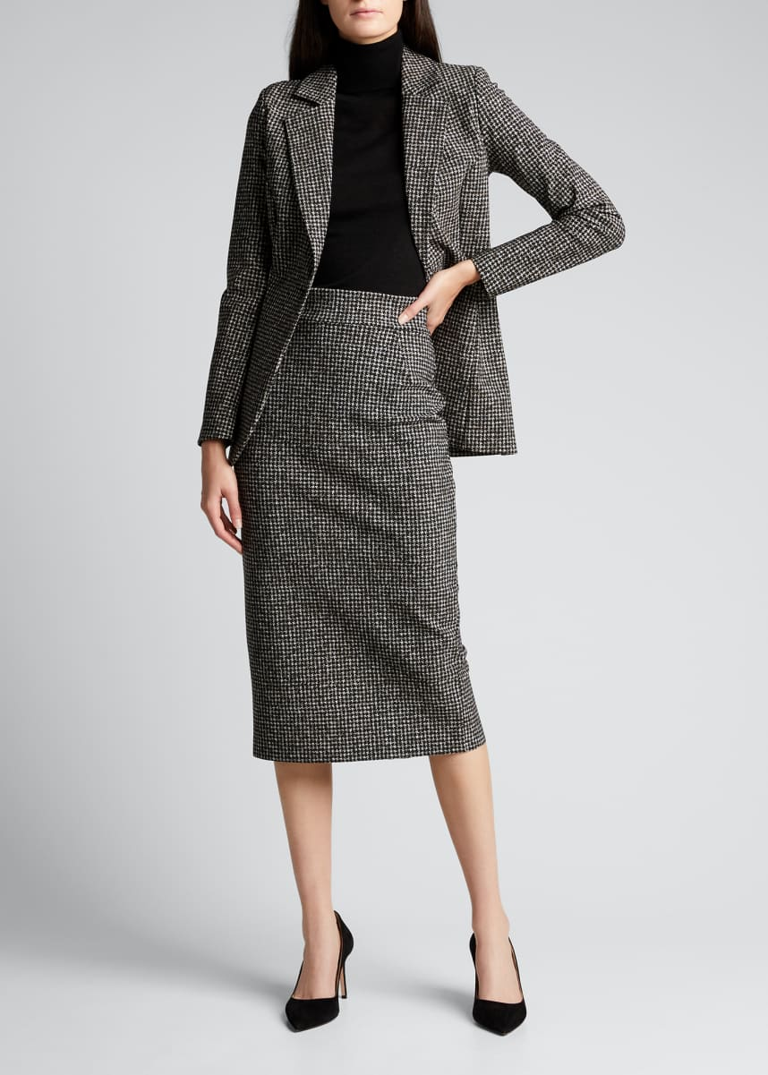 Chiara Boni La Petite Robe Delfina Houndstooth Printed Knee-Length Pencil Skirt