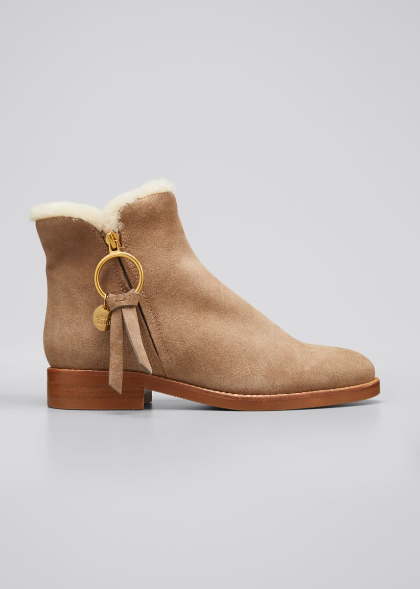 See by Chloe Louise Shearling-Lined Suede Ankle Booties