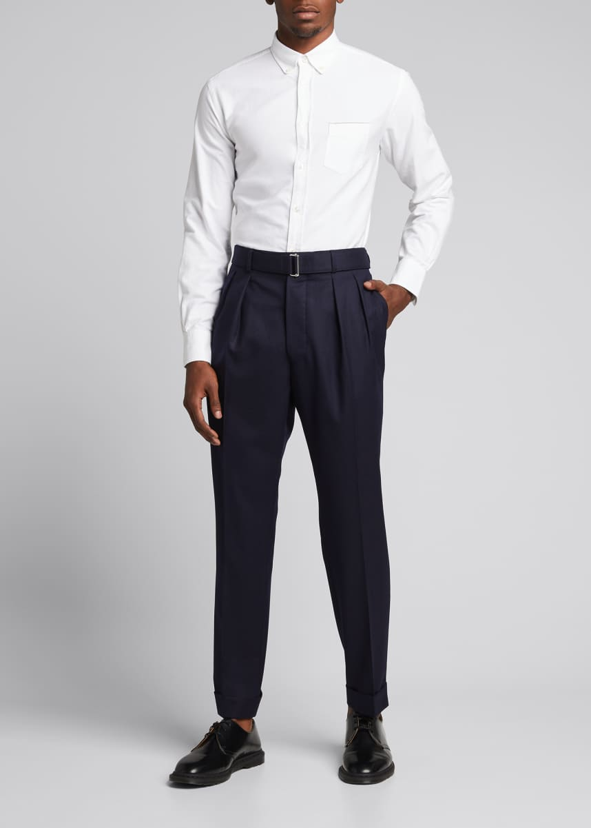 Officine Generale Men's Pierre Pleated Wool Flannel Dress Pants