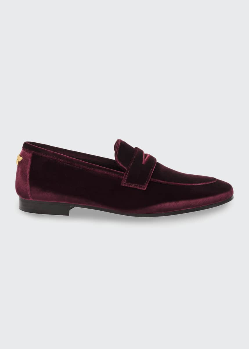 Bougeotte Velvet Flat Penny Loafers, Wine
