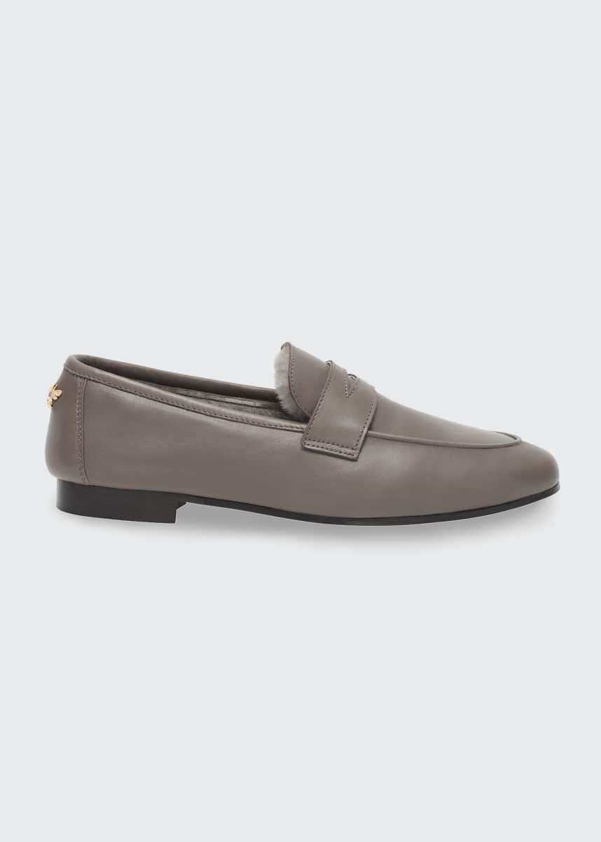 Bougeotte Leather Shearling Penny Loafers
