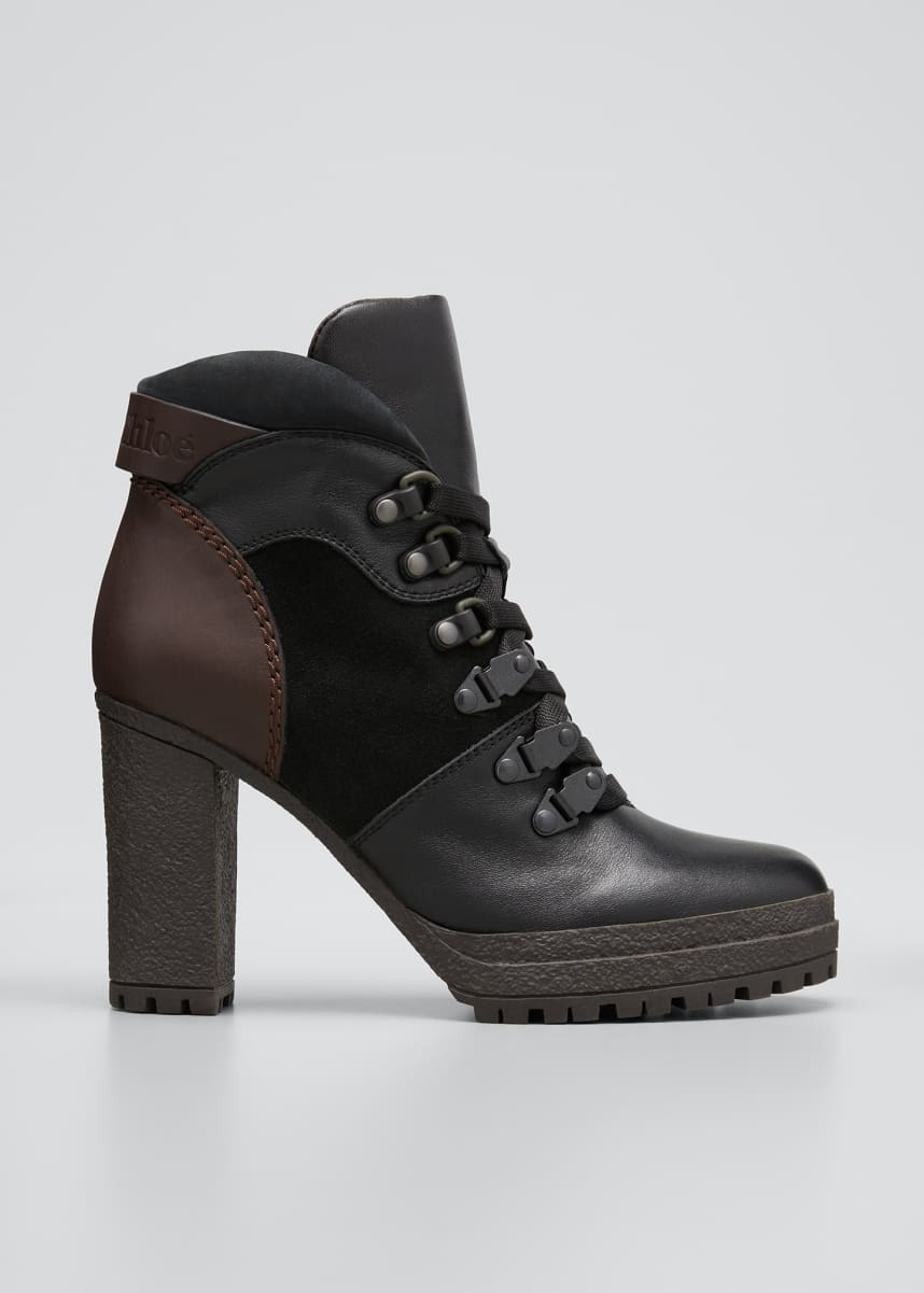 See by Chloe 90mm Aure Mixed Leather Hiking Booties