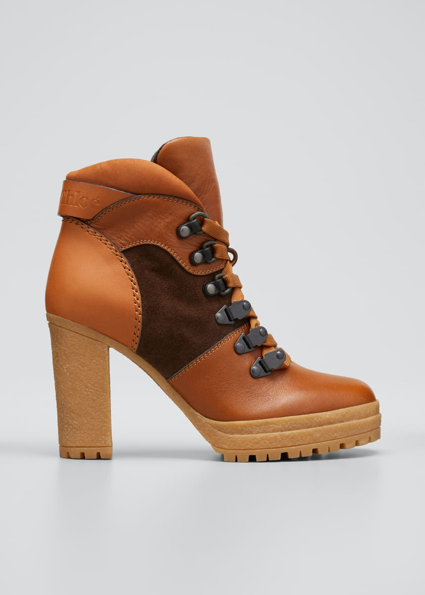 See by Chloe Aure Mixed Leather Hiking Booties