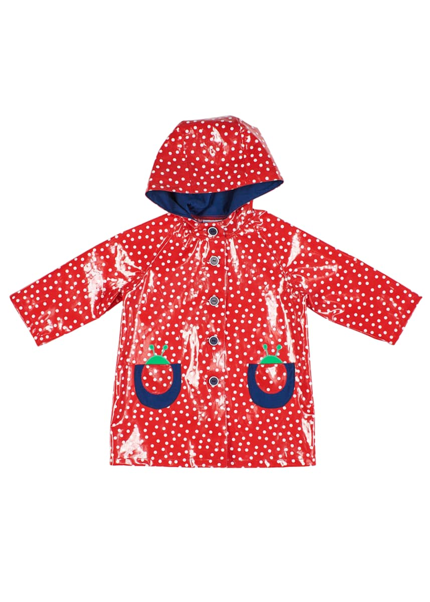 Florence Eiseman Girl's Dotted Ladybug Hooded Raincoat, Size 2-6X