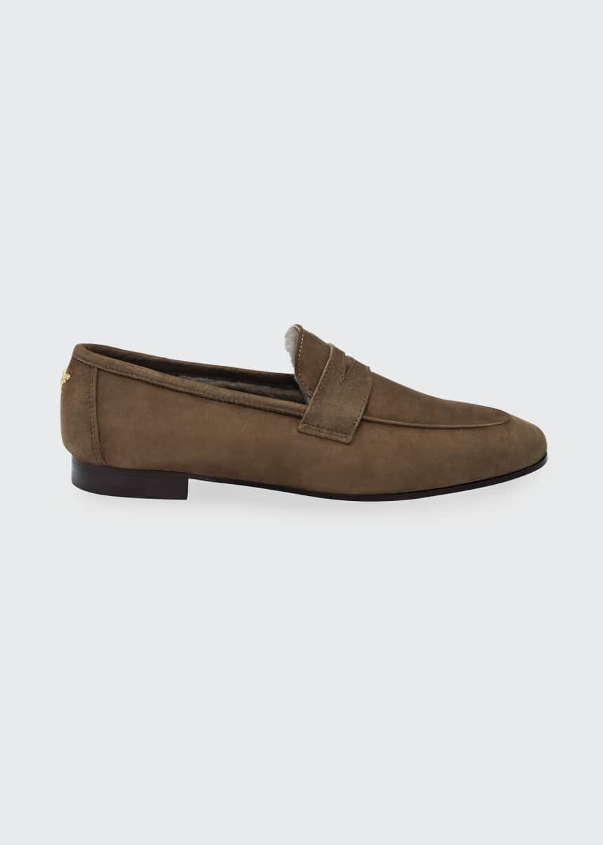 Bougeotte Suede Shearling Penny Loafers