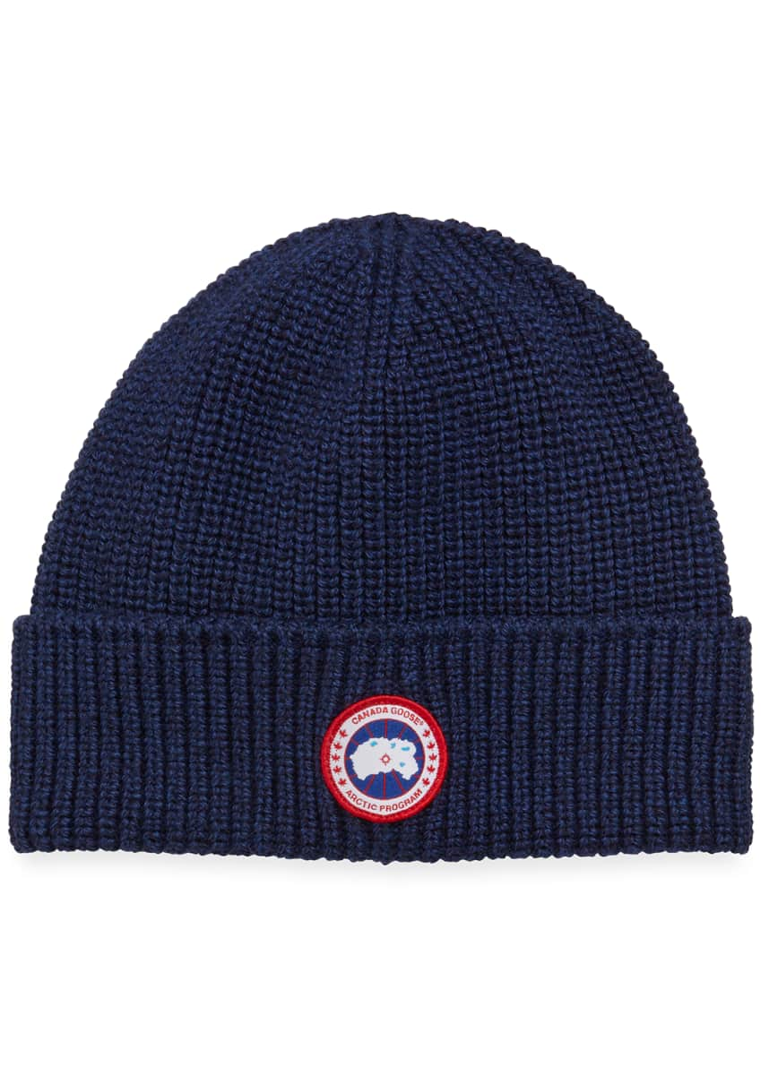 Canada Goose Men's Arctic Rib-Knit Wool Beanie Hat