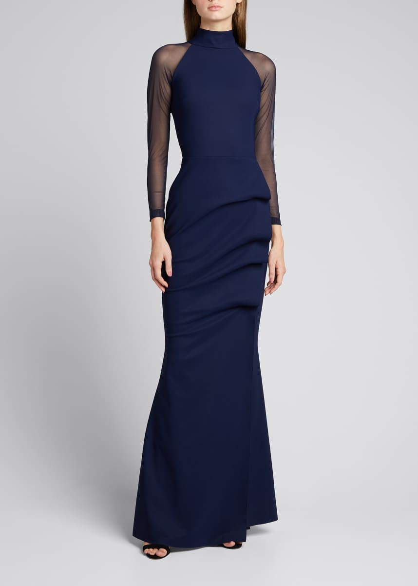 Chiara Boni La Petite Robe Maylys Mock-Neck Long-Sleeve Illusion Gown
