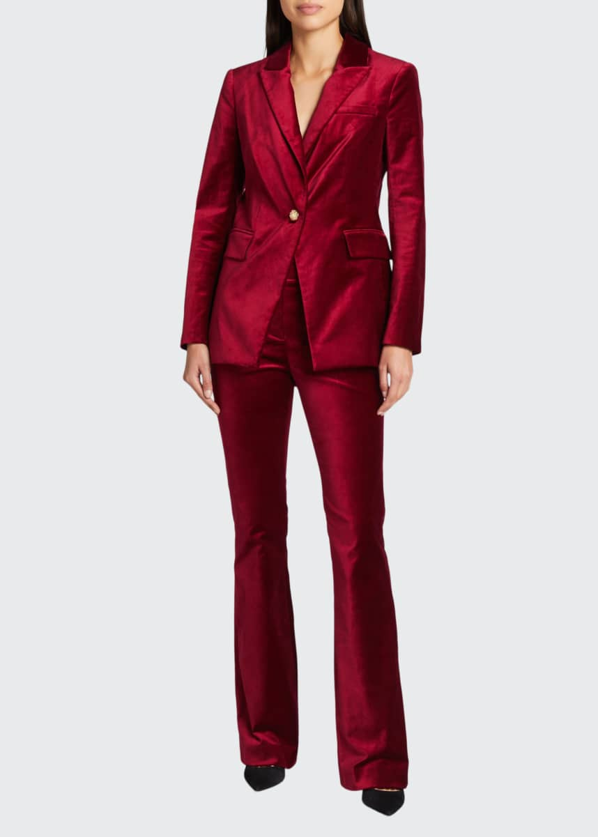 Veronica Beard Verity Velvet High-Rise Button Pants